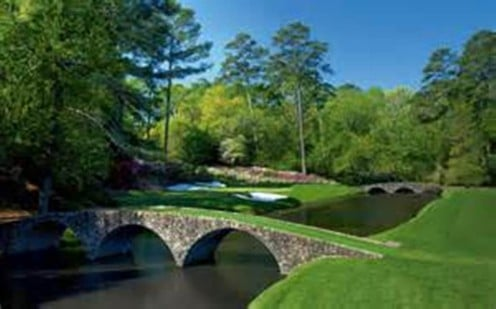 The 12th hole at Augusta National with Ben Hogan Bridge in the foreground. Probably the most beautiful golf course in America, but memberships are a little hard to come by.