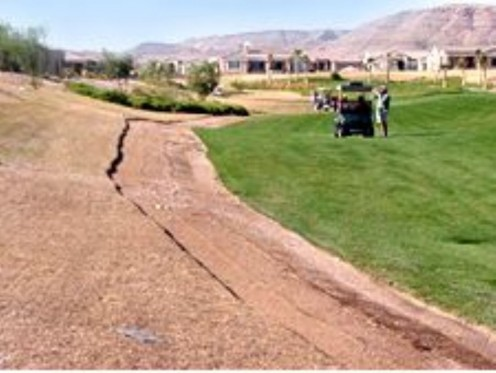 Siena Golf Club: Out of bounds turf being torn up and replaced at a course outside of Las Vegas.