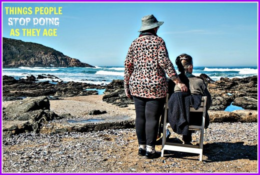 Older people can still go to the beach, but they are more likely to look at it than to go swimming.