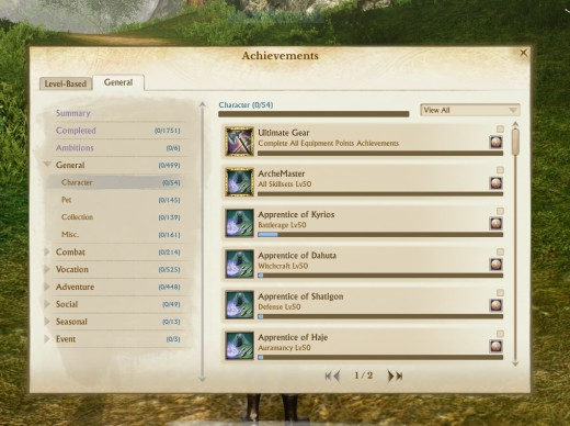 The achievement window from Archeage. Having just started on a fresh start server I have no achievements.