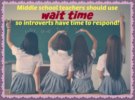 Wait time is an effective way to get all students—extroverts and introverts— involved in a classroom discussion. Many middle school teachers don't utilize it because they don't want to insist that students raise their hands before speaking.