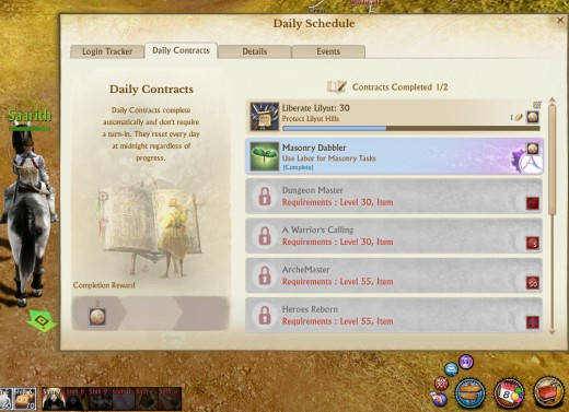 This is the daily contracts screen. As you can see I am not yet level 30 when this screen capture is made.