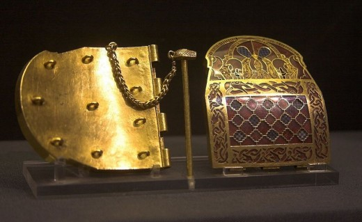 Gold shoulder clasp from the Sutton Hoo ship-burial kept at The British Museum.