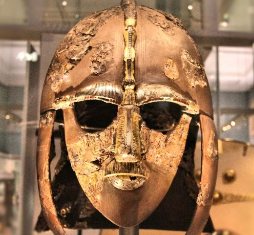 The gold face-mask helmet from the Sutton Hoo ship-burial, Suffolk kept in The British Museum.