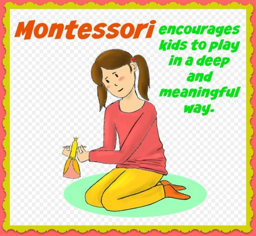Montessori is calm and orderly. Kids have big blocks of time to explore materials in a deep way instead of jumping from one activity to another.
