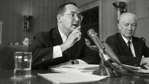 """FCC Chairman Newton Minow delivers his famous """"Television and the Public Interest"""" speech to the National Association of Broadcasters, May 9,1961."""