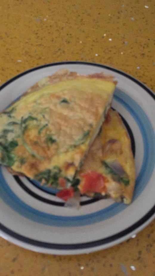 Sliced omelette. It looks like something purchased from a café, but really, its made at home.
