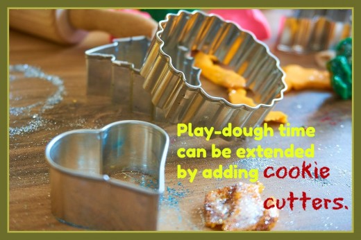 Cookie cutters, plastic utensils, a garlic press, rolling pins, scissors, and spatulas are all wonderful tools to extend play-dough time and enhance fine motor skills.