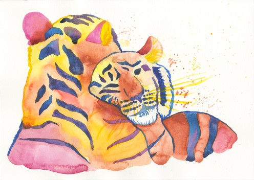 How to Paint Cuddling Tigers With Watercolors