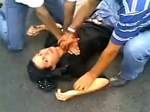 Neda Agha-Soltan as she lay dying after her arrest in Teheran