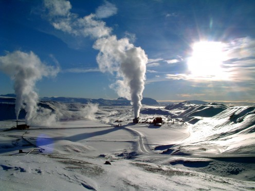 Krafla geothermal power plant in Iceland.