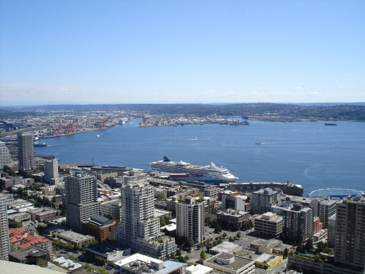 The beautiful waters of the Puget Sound seen here from Seattle. It wends its way throughout the region.