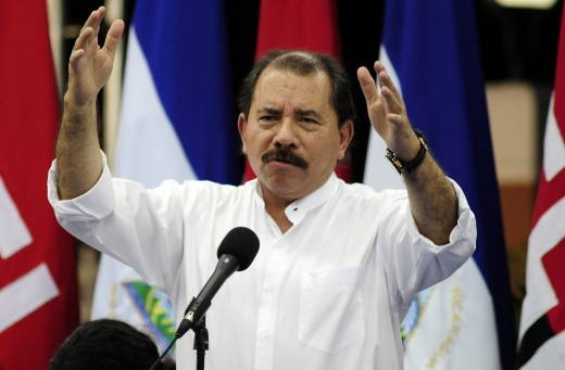 Daniel Ortega talking to the media.
