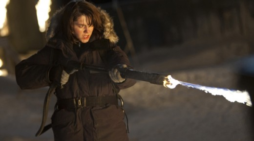 Kate using a flamethrower