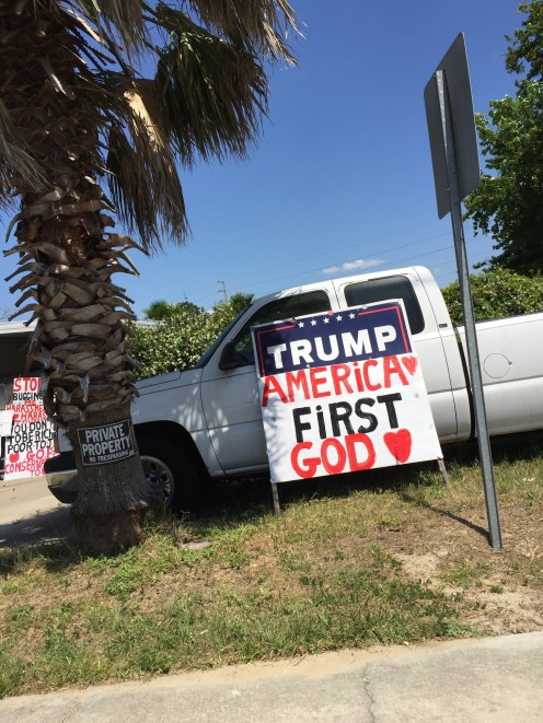 "This sign was recently viewed by thousands of motorists at a busy Intersection in Ocala, Florida. It Reads, ""Trump: America's First God""."