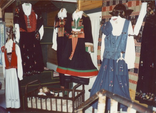 Costumes from various regions of Norway on display