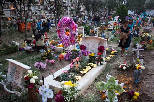 Cemetery at Leon Guanajuato, Mexico during Day of the Dead on November 2, 2012.