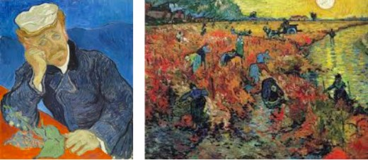 Dr. Paul Gachet, friend, and doctor to Vincent, is a vibrantly painted masterpiece. Rich with symbolism and laden sadness.The Vineyard, created in 1888 was sold just two years before Vincent's death.