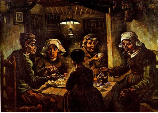 The Potato Eaters is considered Vincent's earliest masterpiece. A monochromatic naturalistic painting of muted brown and olive tones. It is clear Van Gogh's intentions were to portray the hardship and sadness in the everyday life of a peasant.