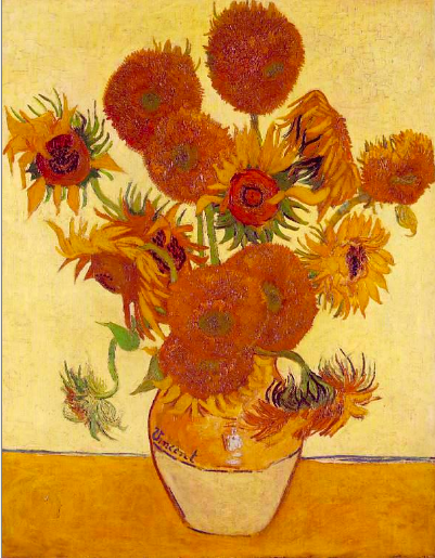 Vincent's Sunflowers, is a celebration of nature in the most of vibrant colors. Sunflowers in every stage of life. Healthy and vibrant to wilting and nearly dead. Depicting the glorious beauty of life and inevitable unseemliness of death.