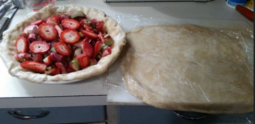pour over fruit and cover with second crust