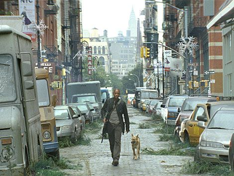 Neville and Sam go through the ruins of New York