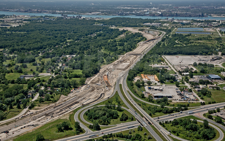 Aerial view of Highway 401 from the Canadian side of the Detroit River and leading to the Gordie Howe Bridge--it should ease congestion in Windsor.