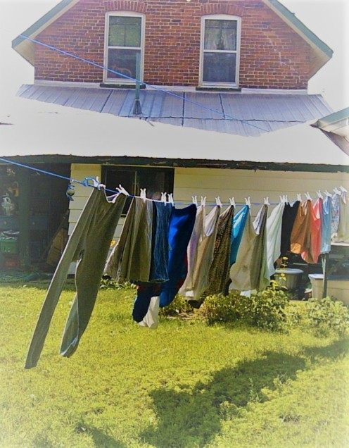 Rather than using the dryer, try hanging up your wet clothes on a clothesline - outside or on the shower curtain rods in the bathrooms. Too stiff? Run it through an air dry cycle on the dryer including a clean wet rag. No more wrinkles!