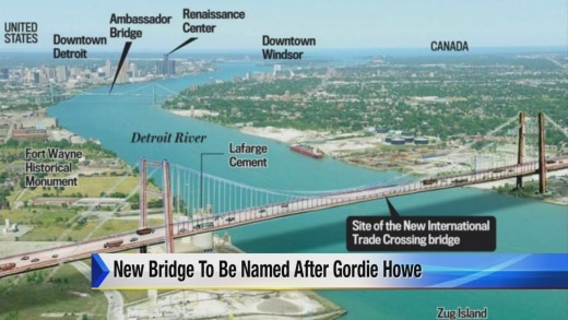Overview of situation showing both Ambassador and Gordie Howe Bridges and adjacent properties.