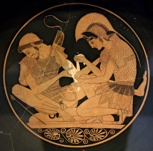 Achilles tending Patroclus wounded by an arrow during the Trojan War.