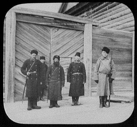 Convict prison guards at gate of building - Khabarovsk - 1895