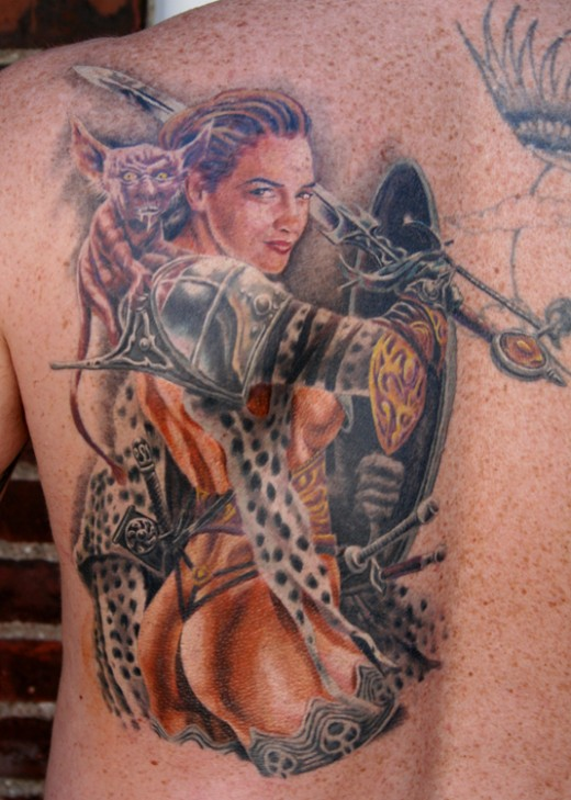 Female warrior tattoo