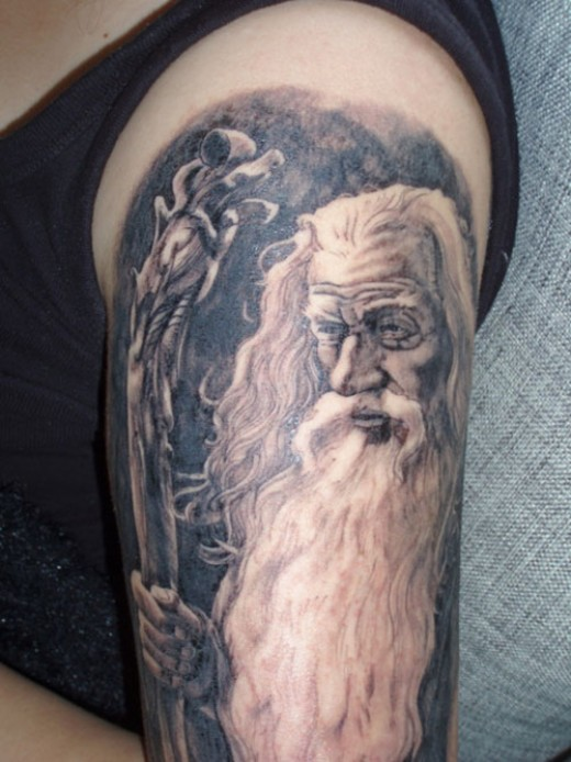 Fantasy tattoo art and designs for Wizard tattoo designs