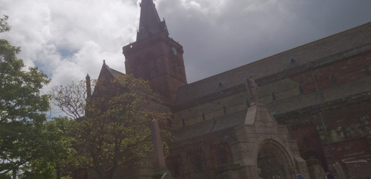 Outside view of St. Magnus Cathedral in Kirkwall, Orkney