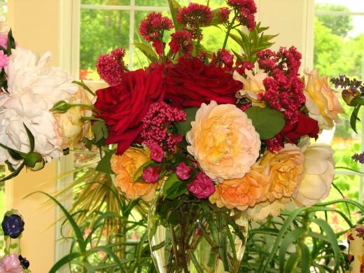 An arrangement of my fresh, garden roses