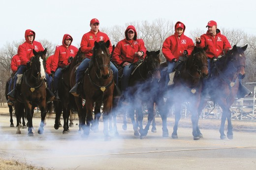 Troopers of the 1st Infantry Division Commanding General's Mounted Color Guard. They perform in parades and rodeos.