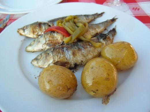 Sardines and potatoes.