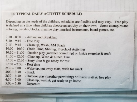 An example of a daily schedule.  It's important to ask a schedule so you can get an idea of activities the children do.