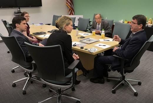Deputy Secretary of Defense Ashton B. Carter and former Secretary of Defense William Perry meet Theranos founder Elizabeth Holmes in 2013.