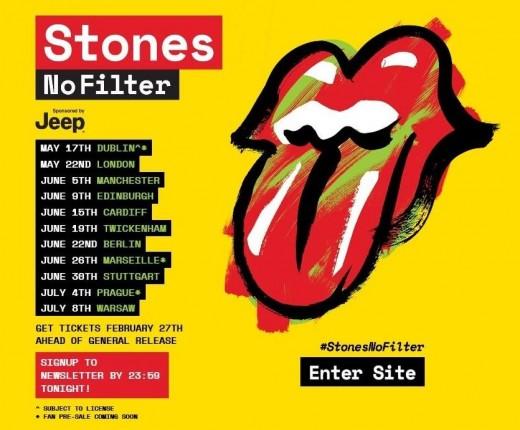 Stones' Summer 2018 UK Tour Dates