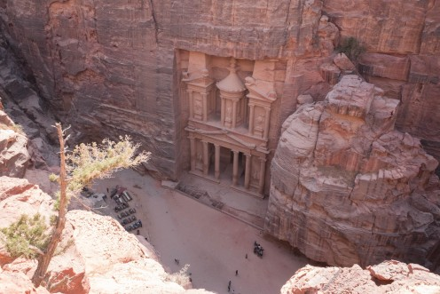 The famous Treasury building at Petra as viewed from above.  Many people associate this building in their minds with the Indiana Jones films.
