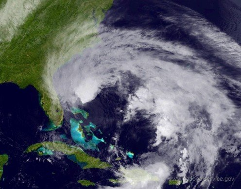 Rain bands from a tropical storm can spread out over a large area. Source: U.S. National Weather Service