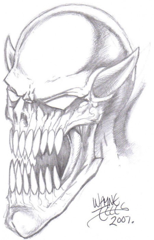 Demon head drawing, drawn with a HB pencil by Wayne Tully 2010.