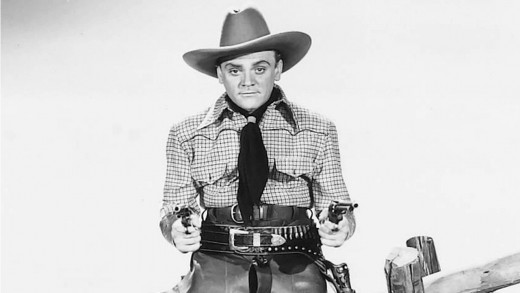 In his debut Western, Cagney feels out-of-place with his New York accent and veers wildly from gritty outlaw to comic relief.