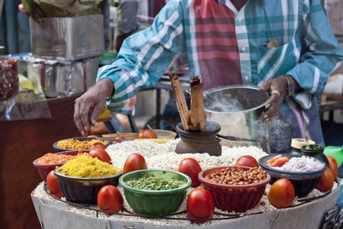 Poori sold on the streets of India