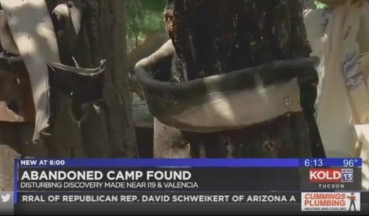 "Tucson news report on alleged ""rape trees"" found in camp suspected to be associated with child trafficking"