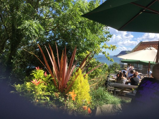 Robin Hood's Bay cafe in almost tropical setting. Another problem place for me at times