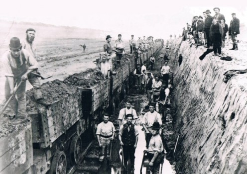 Navvies working on the construction of the Manchester Ship Canal