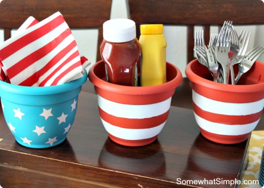 Flower pots used as condiment holders