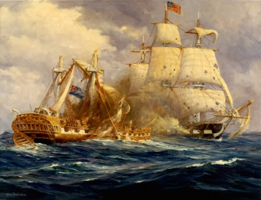 Oil Painting of the USS Constitution Fighting the HMS Guerriere